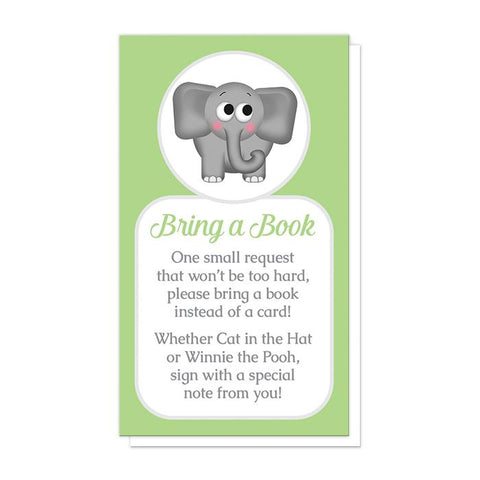 Cute Elephant Green Bring a Book Cards at Artistically Invited