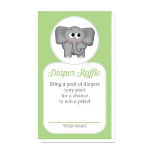Cute Elephant Green Diaper Raffle Cards at Artistically Invited