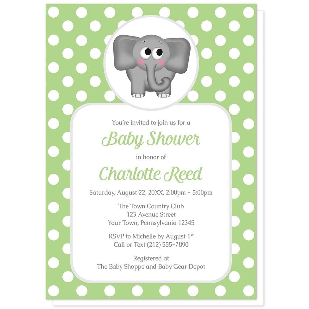 Cute Elephant Green Polka Dot Baby Shower Invitations at Artistically Invited
