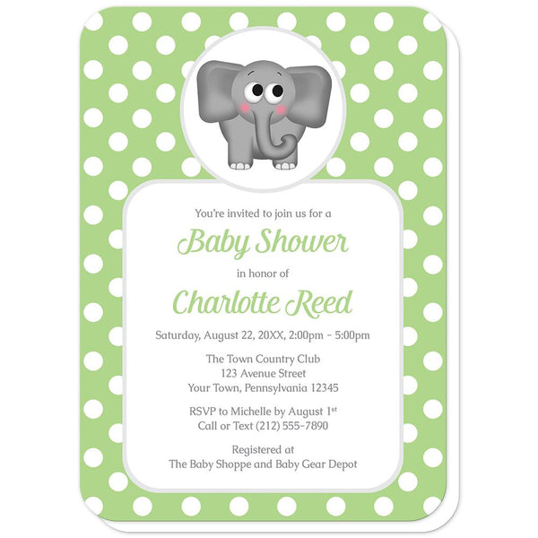 Cute Elephant Green Polka Dot Baby Shower Invitations (rounded corners) at Artistically Invited
