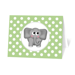 Cute Elephant Green Polka Dot Note Cards at Artistically Invited