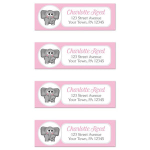 Cute Elephant Pink Return Address Labels at Artistically Invited