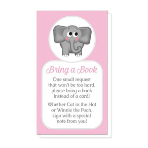 Cute Elephant Pink Bring a Book Cards at Artistically Invited