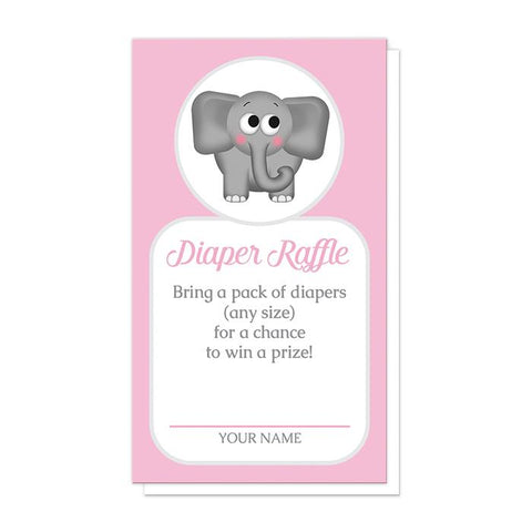 Cute Elephant Pink Diaper Raffle Cards at Artistically Invited