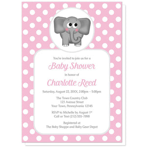 Cute Elephant Pink Polka Dot Baby Shower Invitations at Artistically Invited