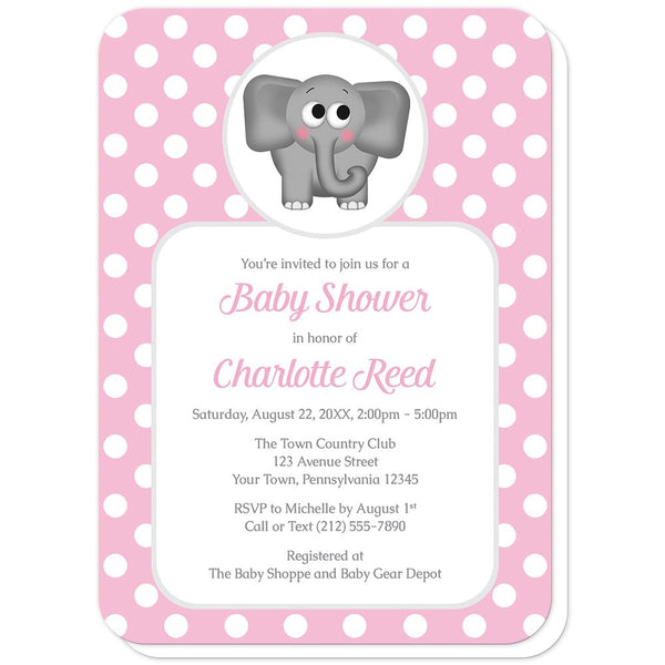 Cute Elephant Pink Polka Dot Baby Shower Invitations (rounded corners) at Artistically Invited