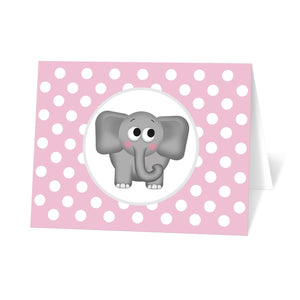 Cute Elephant Pink Polka Dot Note Cards at Artistically Invited