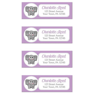 Cute Elephant Purple Return Address Labels at Artistically Invited