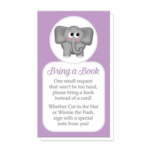 "Cute Elephant Purple ""Bring a Book"" Cards at Artistically Invited"