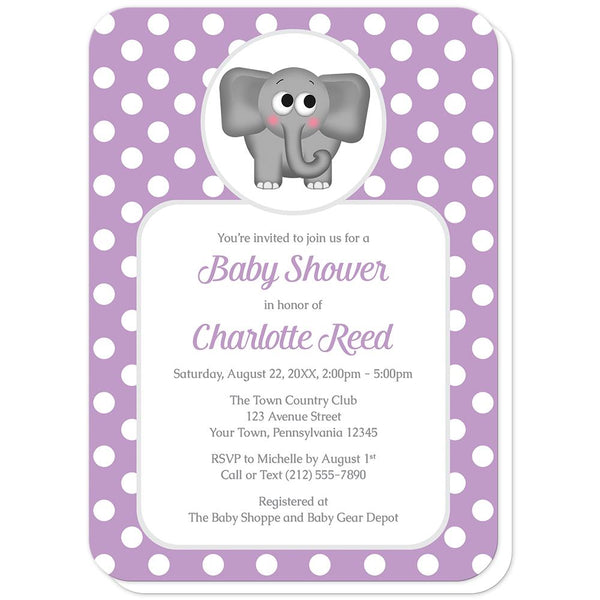 Cute Elephant Purple Polka Dot Baby Shower Invitations (rounded corners) at Artistically Invited