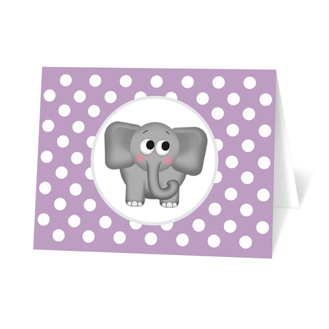 Cute Elephant Purple Polka Dot Note Cards at Artistically Invited