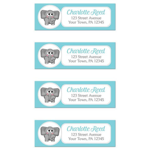 Cute Elephant Turquoise Return Address Labels at Artistically Invited