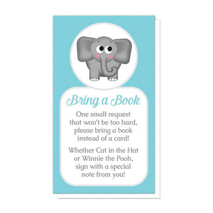 Cute Elephant Turquoise Bring a Book Cards at Artistically Invited