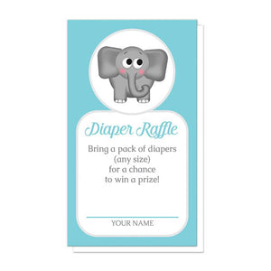Cute Elephant Turquoise Diaper Raffle Cards at Artistically Invited