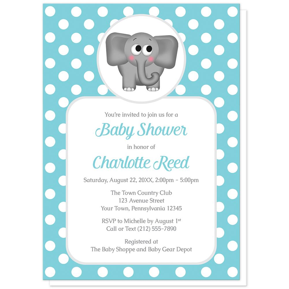 Cute Elephant Turquoise Polka Dot Baby Shower Invitations at Artistically Invited