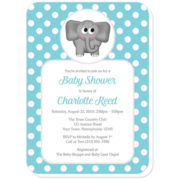 Cute Elephant Turquoise Polka Dot Baby Shower Invitations (rounded corners) at Artistically Invited