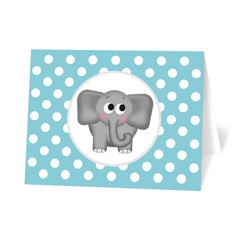 Cute Elephant Turquoise Polka Dot Note Cards at Artistically Invited