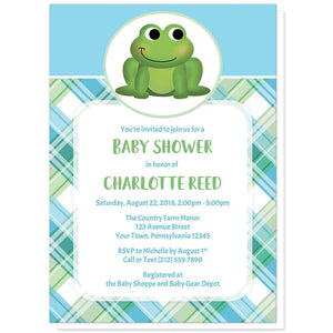 Cute Frog Green and Blue Plaid Baby Shower Invitations at Artistically Invited