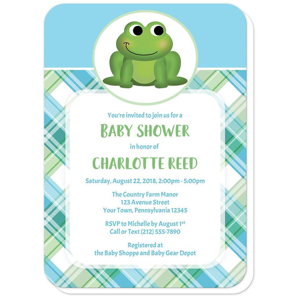 Cute Frog Green and Blue Plaid Baby Shower Invitations (rounded corners) at Artistically Invited