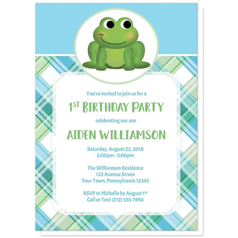 Cute Frog Green and Blue Plaid Birthday Party Invitations at Artistically Invited