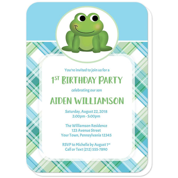 Cute Frog Green and Blue Plaid Birthday Party Invitations (rounded corners) at Artistically Invited
