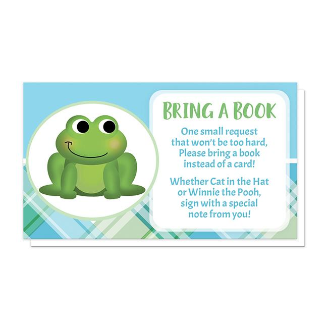 "Cute Frog Green and Blue Plaid ""Bring a Book"" Cards at Artistically Invited"