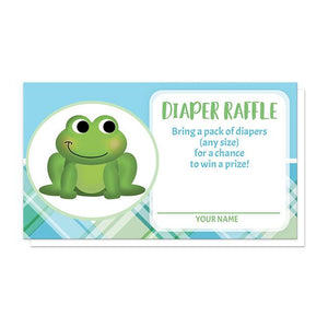 Cute Frog Green and Blue Plaid Diaper Raffle Cards at Artistically Invited