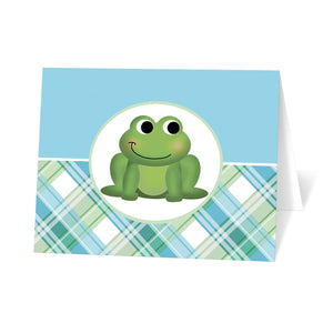 Frog Note Cards - Cute Frog Green and Blue Plaid Note Cards at Artistically Invited