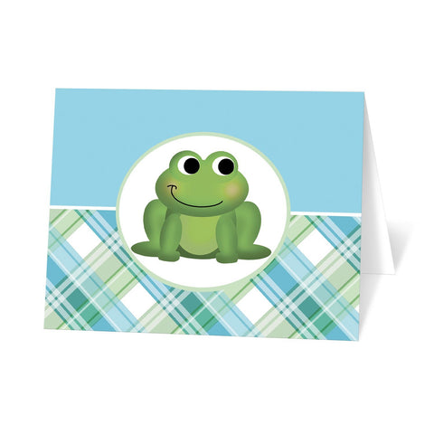 Cute Frog Green and Blue Plaid Note Cards at Artistically Invited