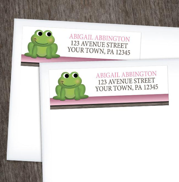 Cute Froggy Green Pink Rustic Brown Address Labels at Artistically Invited