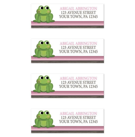 Cute Froggy Green Pink Rustic Brown Address Labels