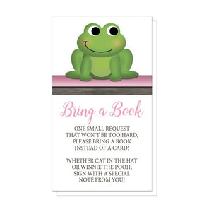 Cute Froggy Green Pink Rustic Brown Bring a Book Cards at Artistically Invited