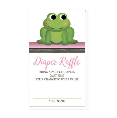 Cute Froggy Green Pink Rustic Brown Diaper Raffle Cards