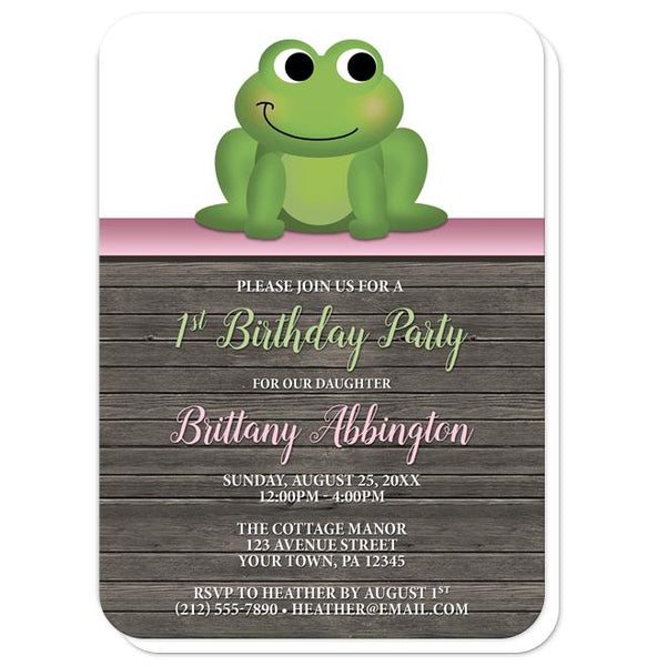 Cute Froggy Green Pink Rustic Wood 1st Birthday Invitations - rounded corners