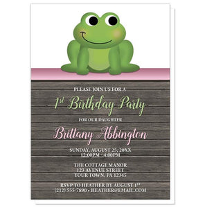 Cute Froggy Green Pink Rustic Wood 1st Birthday Invitations