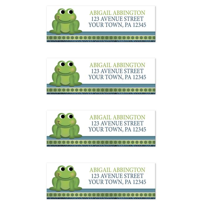 Cute Froggy Green Rustic Blue Address Labels at  Artistically Invited
