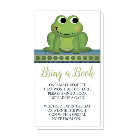 Cute Froggy Green Rustic Blue Bring a Book Cards at Artistically Invited