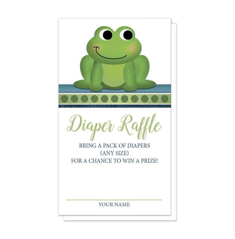 Cute Froggy Green Rustic Blue Diaper Raffle Cards