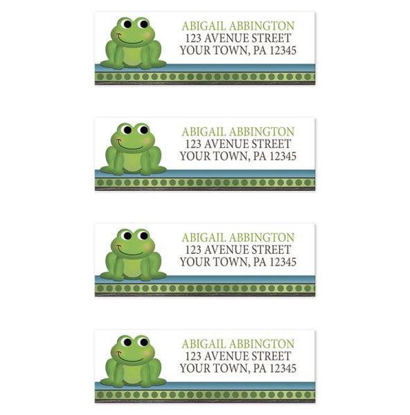 Cute Froggy Green Rustic Brown - Frog Address Labels at Artistically Invited