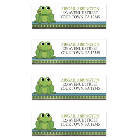 Cute Froggy Green Rustic Brown Address Labels