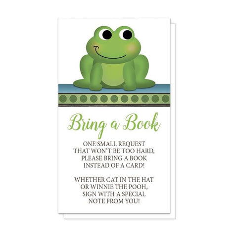Cute Froggy Green Rustic Brown - Frog Bring a Book Cards at Artistically Invited