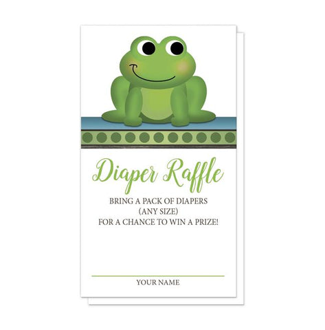 Cute Froggy Green Rustic Brown Diaper Raffle Cards