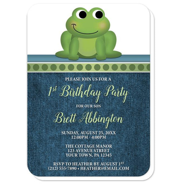 Cute Froggy Green Rustic Denim 1st Birthday Invitations - rounded corners