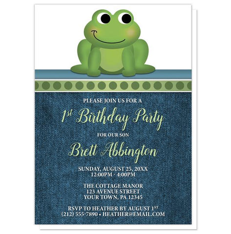 Cute Froggy Green Rustic Denim 1st Birthday Invitations