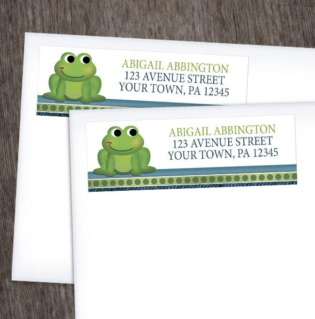 Cute Froggy Green Rustic Blue Address Labels