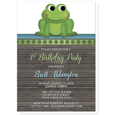Cute Froggy Green Rustic Wood - Frog 1st Birthday Invitations at Artistically Invited