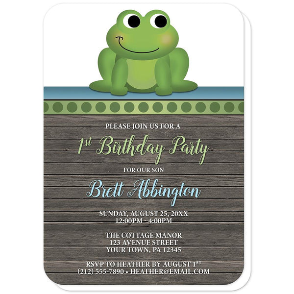 Cute Froggy Green Rustic Wood - Frog 1st Birthday Invitations (rounded corners) at Artistically Invited