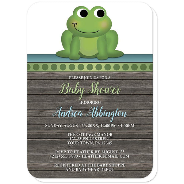 Cute Froggy Green Rustic Wood - Frog Baby Shower Invitations (rounded corners) at Artistically Invited