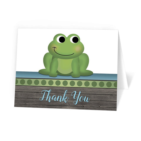 Cute Froggy Green Rustic Wood - Frog Thank You Cards at Artistically Invited