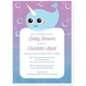 Cute Happy Narwhal Baby Shower Invitations at Artistically Invited